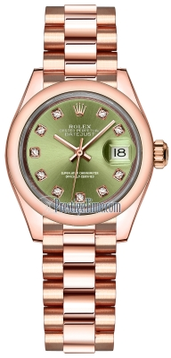 Rolex Lady Datejust 28mm Everose Gold 279165 Olive Green Diamond President