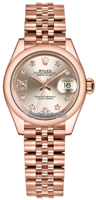 Rolex Lady Datejust 28mm Everose Gold 279165 Sundust 17 Diamond Jubilee