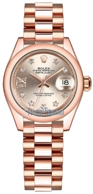 Rolex Lady Datejust 28mm Everose Gold 279165 Sundust 17 Diamond President