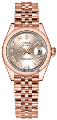 Rolex Lady Datejust 28mm Everose Gold 279165 Sundust Roman Jubilee