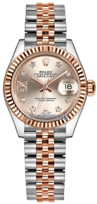 Rolex Lady Datejust 28mm Stainless Steel and Everose Gold 279171 Sundust 17 Diamond Jubilee