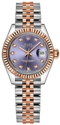 Rolex Lady Datejust 28mm Stainless Steel and Everose Gold 279171 Aubergine Diamond Jubilee