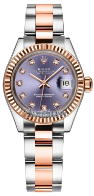 Rolex Lady Datejust 28mm Stainless Steel and Everose Gold 279171 Aubergine Diamond Oyster