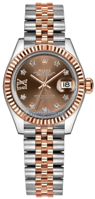 Rolex Lady Datejust 28mm Stainless Steel and Everose Gold 279171 Chocolate 17 Diamond Jubilee