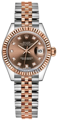 Rolex Lady Datejust 28mm Stainless Steel and Everose Gold 279171 Chocolate Diamond Jubilee