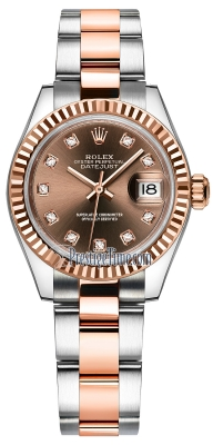 Rolex Lady Datejust 28mm Stainless Steel and Everose Gold 279171 Chocolate Diamond Oyster