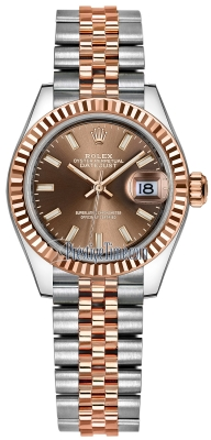 Rolex Lady Datejust 28mm Stainless Steel and Everose Gold 279171 Chocolate Index Jubilee