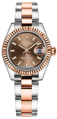Rolex Lady Datejust 28mm Stainless Steel and Everose Gold 279171 Chocolate Index Oyster