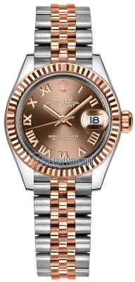 Rolex Lady Datejust 28mm Stainless Steel and Everose Gold 279171 Chocolate Roman Jubilee