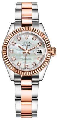 Rolex Lady Datejust 28mm Stainless Steel and Everose Gold 279171 MOP Diamond Oyster