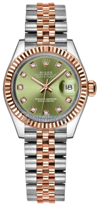 Rolex Lady Datejust 28mm Stainless Steel and Everose Gold 279171 Olive Green Diamond Jubilee