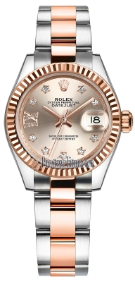 Rolex Lady Datejust 28mm Stainless Steel and Everose Gold 279171 Sundust 17 Diamond Oyster