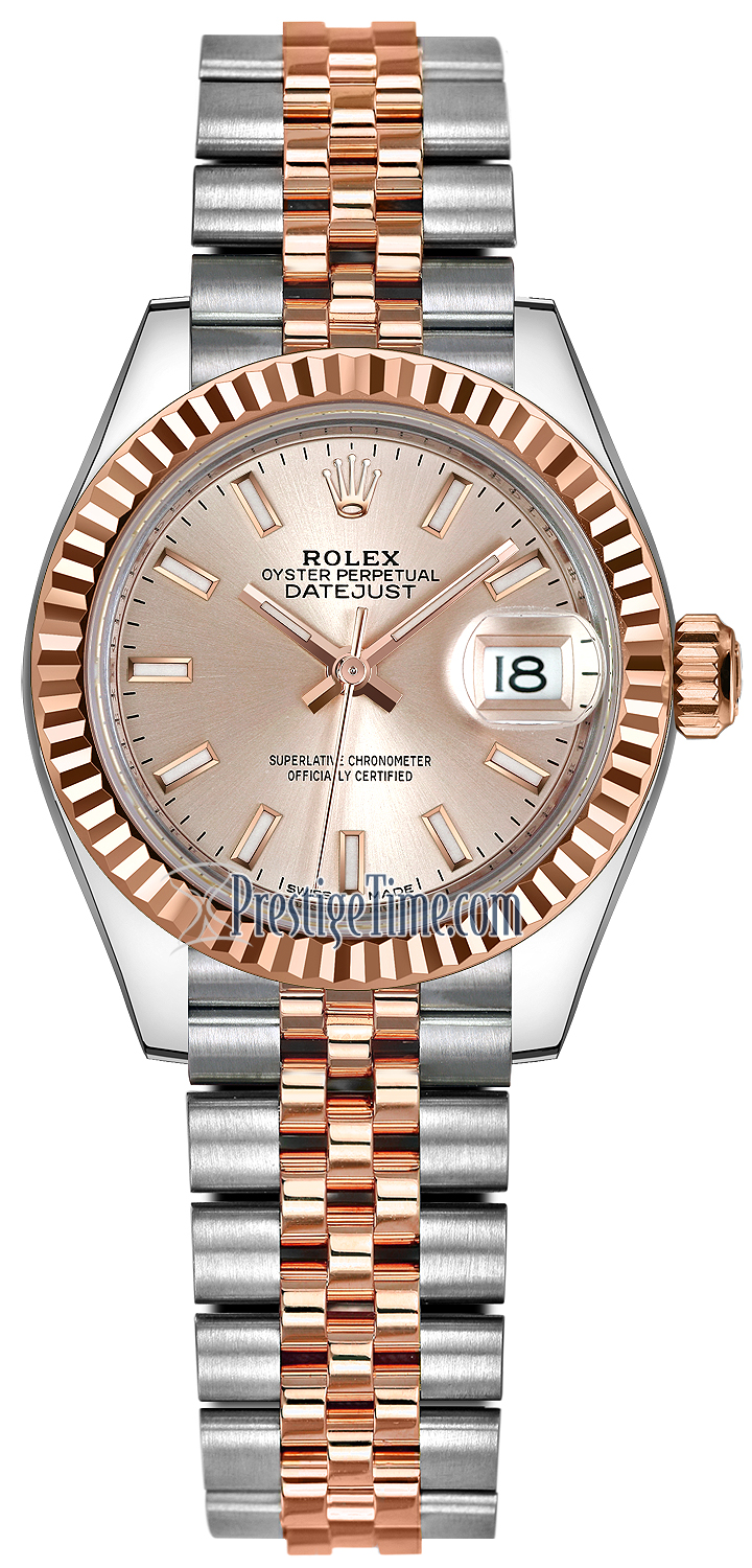 Rolex Lady Datejust 28mm Stainless Steel and Everose Gold 279171 Sundust  Index Jubilee