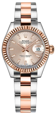 Rolex Lady Datejust 28mm Stainless Steel and Everose Gold 279171 Sundust Index Oyster