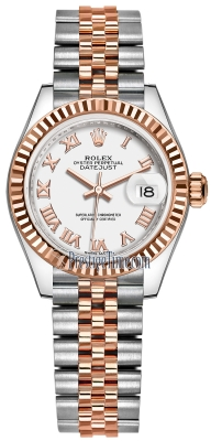 Rolex Lady Datejust 28mm Stainless Steel and Everose Gold 279171 White Roman Jubilee