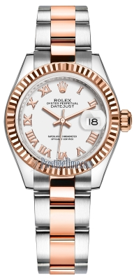 Rolex Lady Datejust 28mm Stainless Steel and Everose Gold 279171 White Roman Oyster
