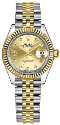 Rolex Lady Datejust 28mm Stainless Steel and Yellow Gold 279173 Champagne 17 Diamond Jubilee
