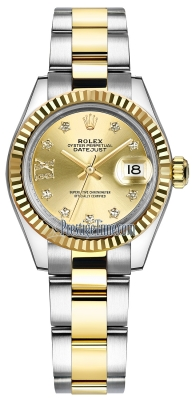 Rolex Lady Datejust 28mm Stainless Steel and Yellow Gold 279173 Champagne 17 Diamond Oyster