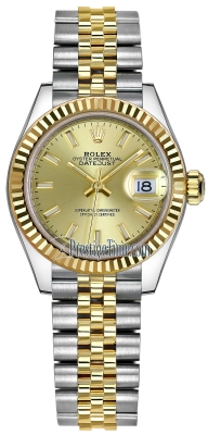 Rolex Lady Datejust 28mm Stainless Steel and Yellow Gold 279173 Champagne Index Jubilee