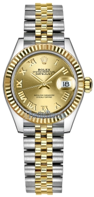 Rolex Lady Datejust 28mm Stainless Steel and Yellow Gold 279173 Champagne Roman Jubilee