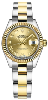 Rolex Lady Datejust 28mm Stainless Steel and Yellow Gold 279173 Champagne Roman Oyster