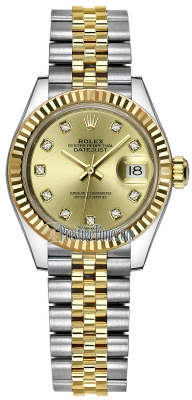 Rolex Lady Datejust 28mm Stainless Steel and Yellow Gold 279173 Champagne Diamond Jubilee