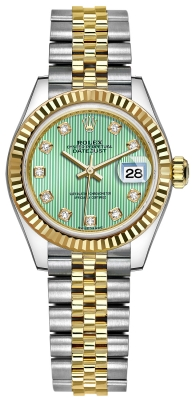 Rolex Lady Datejust 28mm Stainless Steel and Yellow Gold 279173 Mint Green Diamond Jubilee