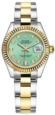 Rolex Lady Datejust 28mm Stainless Steel and Yellow Gold 279173 Mint Green Diamond Oyster