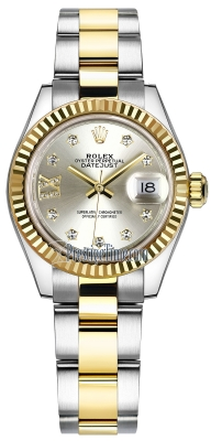 Rolex Lady Datejust 28mm Stainless Steel and Yellow Gold 279173 Silver 17 Diamond Oyster