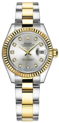 Rolex Lady Datejust 28mm Stainless Steel and Yellow Gold 279173 Silver Diamond Oyster