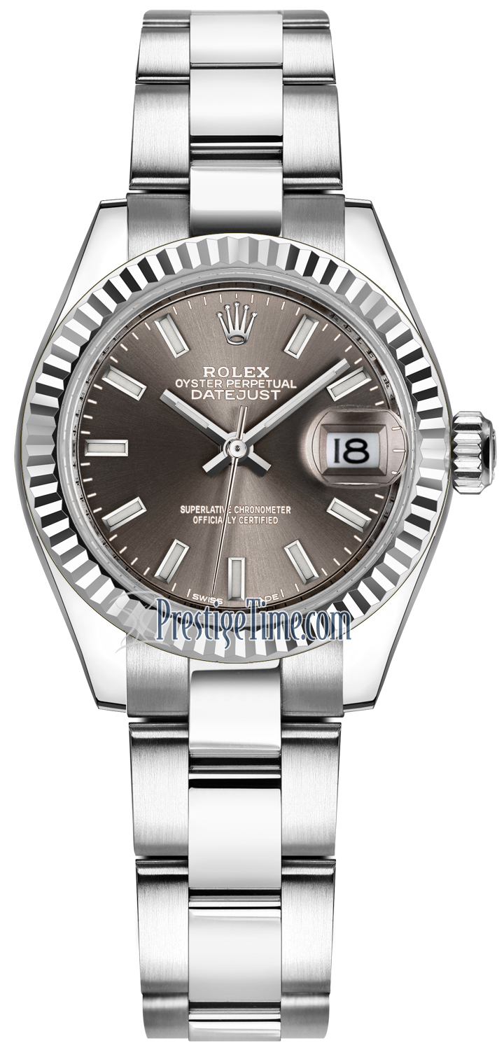279174 Dark Grey Index Oyster Rolex Lady Datejust 28mm Stainless ... b01c2b345