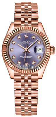 Rolex Lady Datejust 28mm Everose Gold 279175 Aubergine Diamond Jubilee