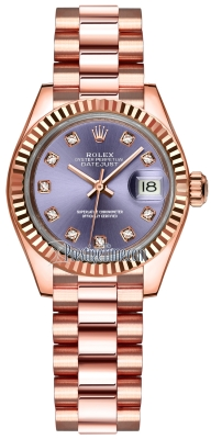 Rolex Lady Datejust 28mm Everose Gold 279175 Aubergine Diamond President
