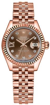 Rolex Lady Datejust 28mm Everose Gold 279175 Chocolate 17 Diamond Jubilee