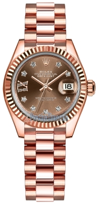 Rolex Lady Datejust 28mm Everose Gold 279175 Chocolate 17 Diamond President