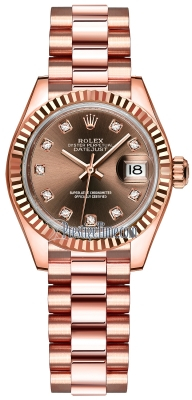 Rolex Lady Datejust 28mm Everose Gold 279175 Chocolate Diamond President