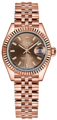 Rolex Lady Datejust 28mm Everose Gold 279175 Chocolate Index Jubilee