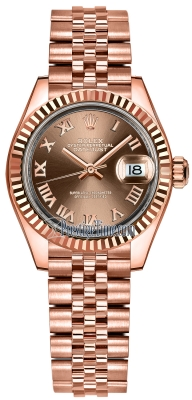 Rolex Lady Datejust 28mm Everose Gold 279175 Chocolate Roman Jubilee