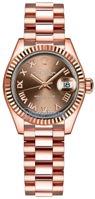 Rolex Lady Datejust 28mm Everose Gold 279175 Chocolate Roman President