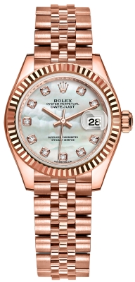 Rolex Lady Datejust 28mm Everose Gold 279175 MOP Diamond Jubilee