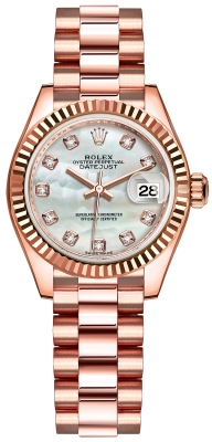 Rolex Lady Datejust 28mm Everose Gold 279175 MOP Diamond President
