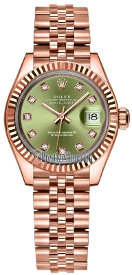 Rolex Lady Datejust 28mm Everose Gold 279175 Olive Green Diamond Jubilee