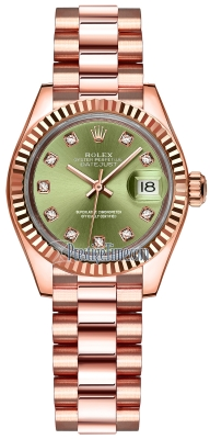 Rolex Lady Datejust 28mm Everose Gold 279175 Olive Green Diamond President