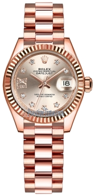 Rolex Lady Datejust 28mm Everose Gold 279175 Sundust 17 Diamond President