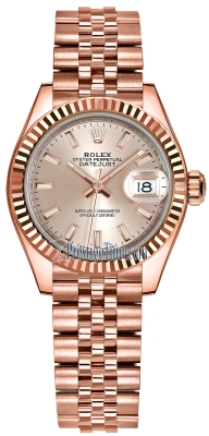 Rolex Lady Datejust 28mm Everose Gold 279175 Sundust Index Jubilee