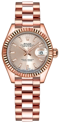 Rolex Lady Datejust 28mm Everose Gold 279175 Sundust Index President