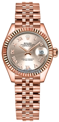 Rolex Lady Datejust 28mm Everose Gold 279175 Sundust Roman Jubilee