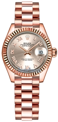 Rolex Lady Datejust 28mm Everose Gold 279175 Sundust Roman President