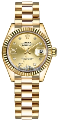 Rolex Lady Datejust 28mm Yellow Gold 279178 Champagne 17 Diamond President