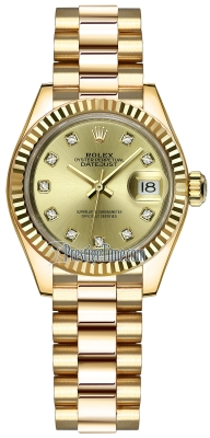 Rolex Lady Datejust 28mm Yellow Gold 279178 Champagne Diamond President